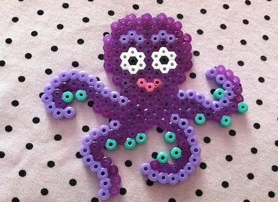 Purple Glitter Octopus  Perler necklace or magnet by coleydinosaur, $5.00
