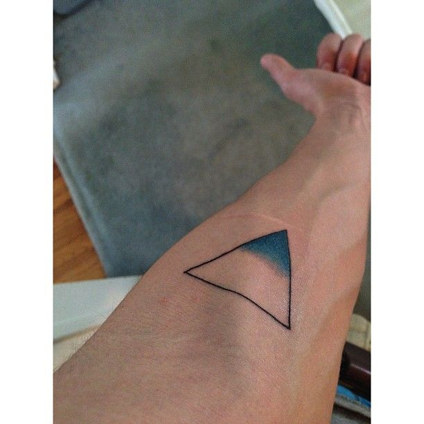 """The upside down triangle is the alchemical symbol for water so it represents life purity water etc. and then its half full of blue to represent a cup half full (depending how you look at it but i look at it half full) to remind me to think positive. And overall its symbolic of change. Water takes the form of whatever container its in and can change shapes to whatever it has to. So basically a reminder to never be stuck in a place and always be willing to adjust."""