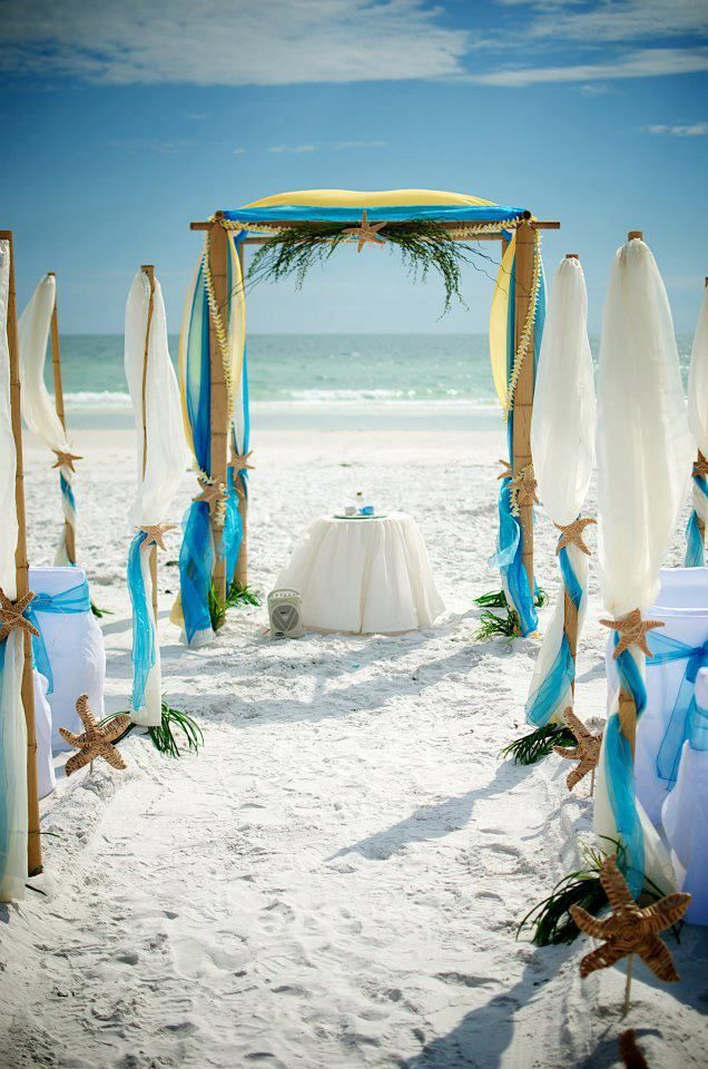 Outstanding, bright and elegant!  Teal aqua yellow beach wedding   Love the colors on this wedding decor! We've got free weddings, concierge destination wedding planning 888-696-4202