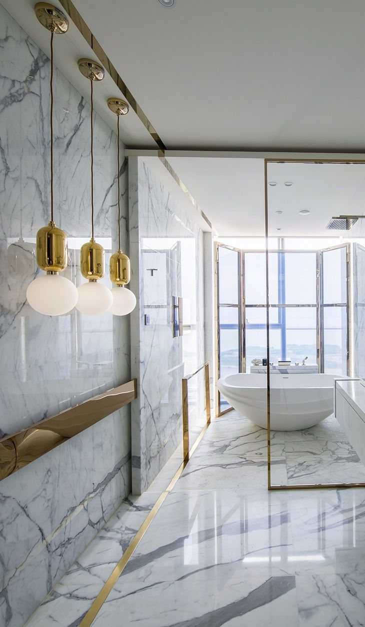 LUXURY ROOMS |Kelly Hoppen bathroom design , all marble and with a stunning view| http://www.bocadolobo.com #contemporarydesign #contemporarydecor
