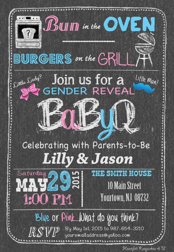 73 best images about gender reveal party on pinterest | mylar, Baby shower invitations