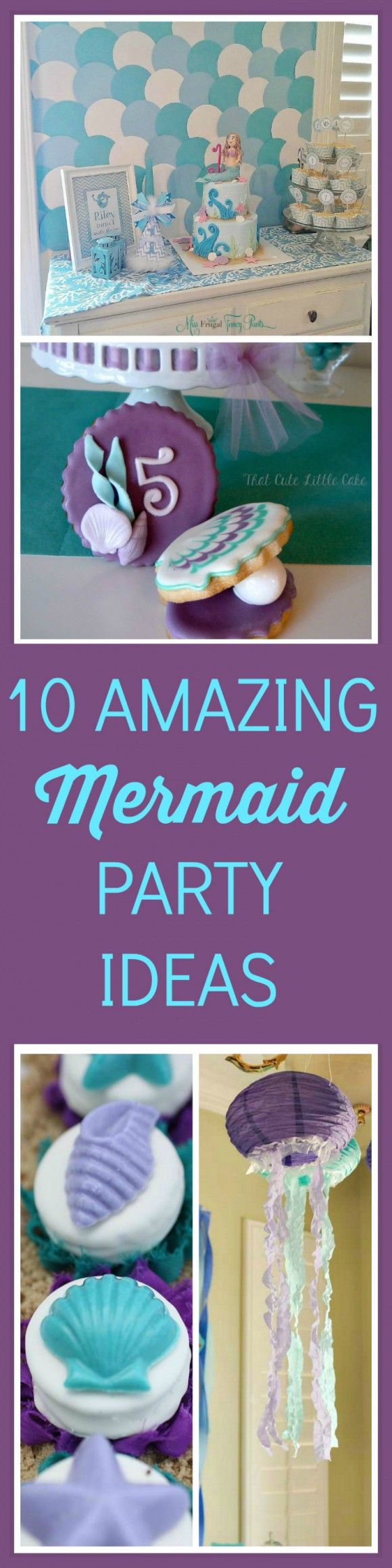 If you are throwing a mermaid party, you must see this post. Ten must-haves including birthday cake ideas, party decorations, cupcakes, and many DIY ideas. If you need more mermaid or under the sea party planning inspirations check out CatchMyParty.com.