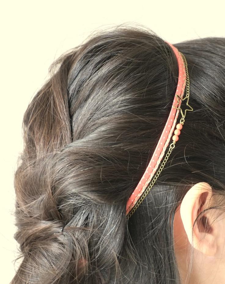 Liberty and coral headband braid brass chain star.  via Etsy. // claradeparis.com ♥