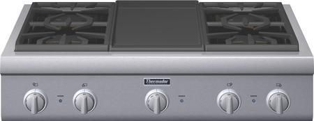 """PCG364GD 36"""" Professional Series Gas Rangetop With 4 Patented Star Burners Electric Griddle ExtraLow And QuickClean Base: Stainless Steel"""
