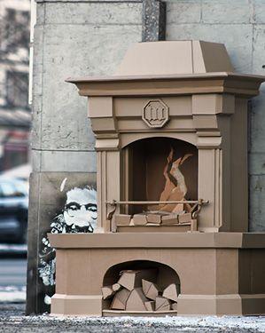 Bartek Elsner -The Fireplace (cardboard sculpture)