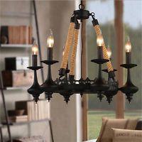 Antique Ceiling Lights Industrial Metal Chandelier Rope Black Pendant Lighting