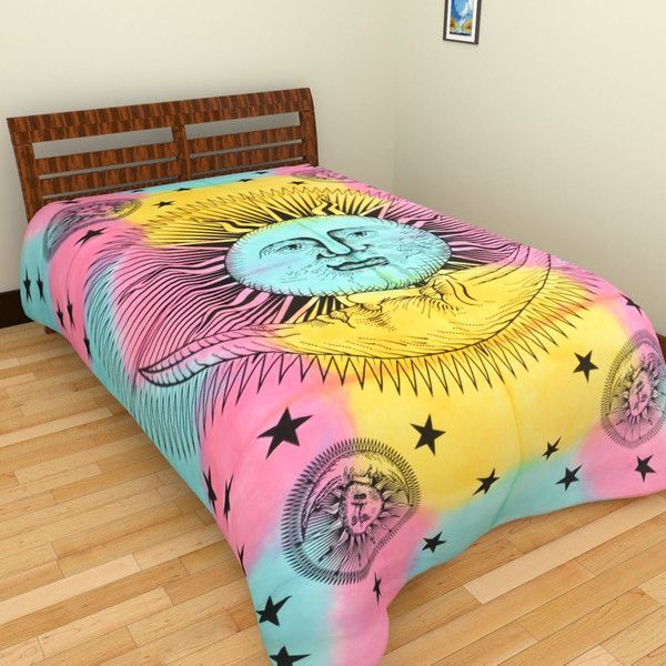 Bedding – Sun moon Wall hanging Tie Dye Tapestry – a unique product by IndianCraftPalace on DaWanda