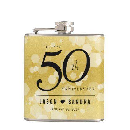 Elegant 50th Golden Wedding Anniversary Hip Flask - elegant gifts gift ideas custom presents