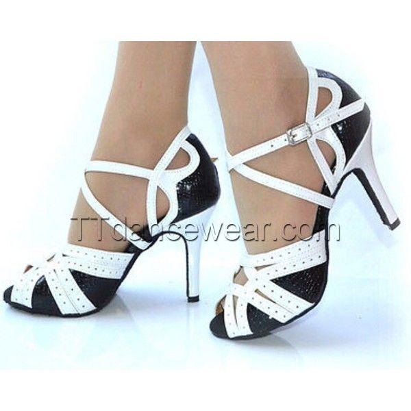 Free Shipping Wholesale Black White Leather Ballroom Latin Salsa Tango Shoes
