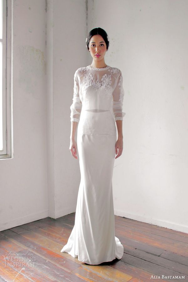 alia bastamam 2013 wedding dress illusion bodice sleeves