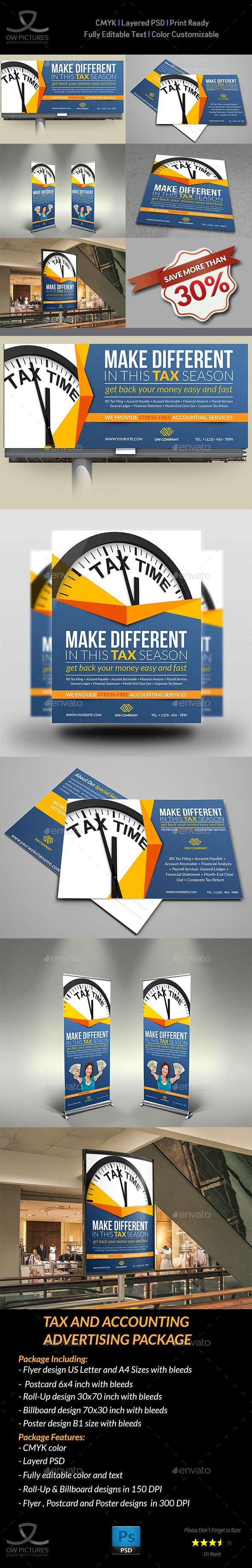 Advertising Bundle Description : Tax and Accounting Advertising Bundle including Flyer design, Billboard design, Roll-Up Signa
