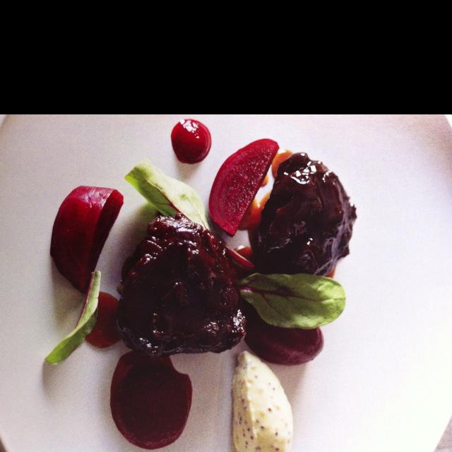 Braised beef cheeks with pickled beetroots. Matt Moran recipe.