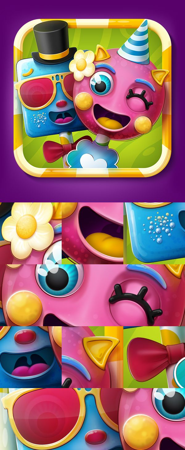 Cake Pop Party Game Icon by Tibor Tovt, via Behance