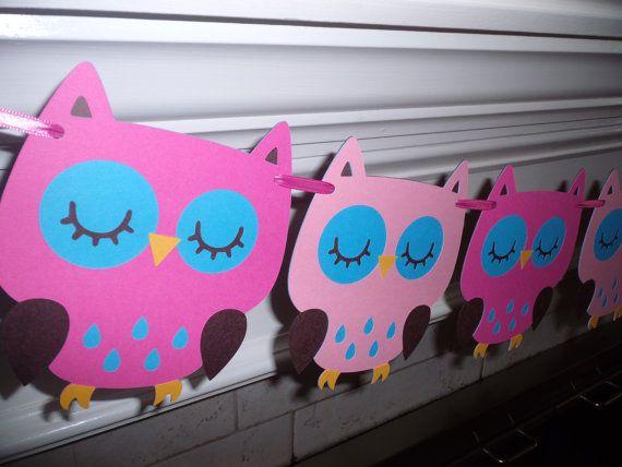 Owl Garland, Owl party, Owl birthday theme, girl birthday, custom colors, birthday party, Happy Birthday, Baby Shower