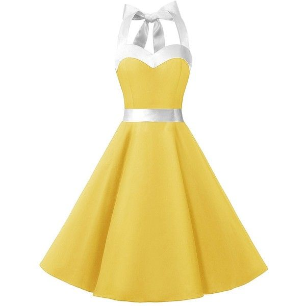 DRESSTELLS Vintage 1950s Rockabilly Polka Dots Audrey Dress Retro... ($9.99) ❤ liked on Polyvore featuring dresses, yellow cocktail dress, yellow homecoming dresses, retro prom dresses, prom dresses and rockabilly dresses