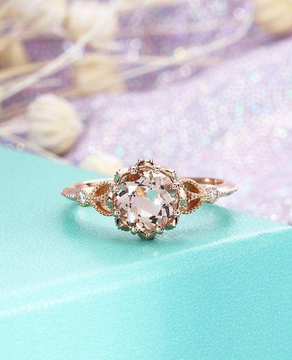 Anillo de compromiso de perlas Anillo de compromiso de oro rosa Anillo de racimo de diamantes de boda para mujer Joyería nupcial vintage Aniversario Regalo del día de la madre   – Jewelry