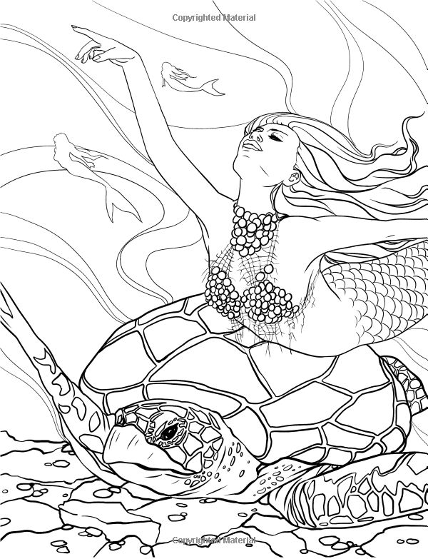 advanced fantasy coloring pages - siren advanced pages coloring pages