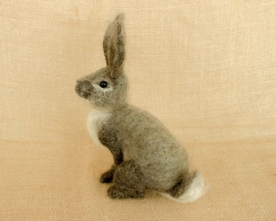 Benjamin the Rabbit: Needle felted animal sculpture