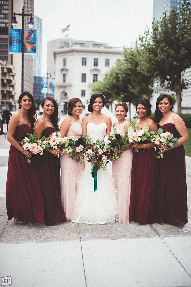 Rich marsala, which pops when mixed with blush pink. | 21 Beautiful And Unexpected Bridesmaid Dress Colors