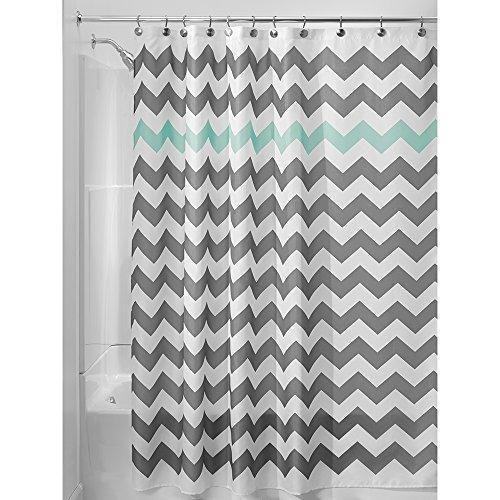 InterDesign Chevron Shower Curtain 72 x 72-Inch Gray/Aruba