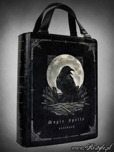 """Black BOOK bag """"Magic Spells"""" gothic handbag, raven moon"""