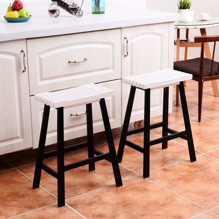 Set of 2 Wooden Bar Stools Seat Counter 24-Inch Vintage Dining Kitchen Chair  #HomeDecor #VintageRetro