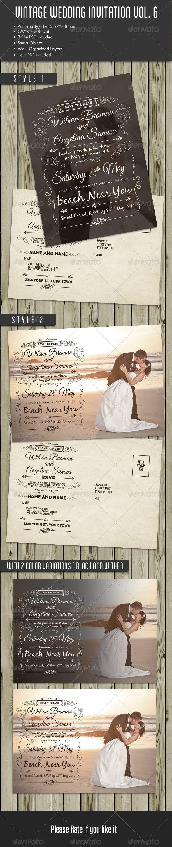 Vintage Wedding Invitation and RSVP Vol 6