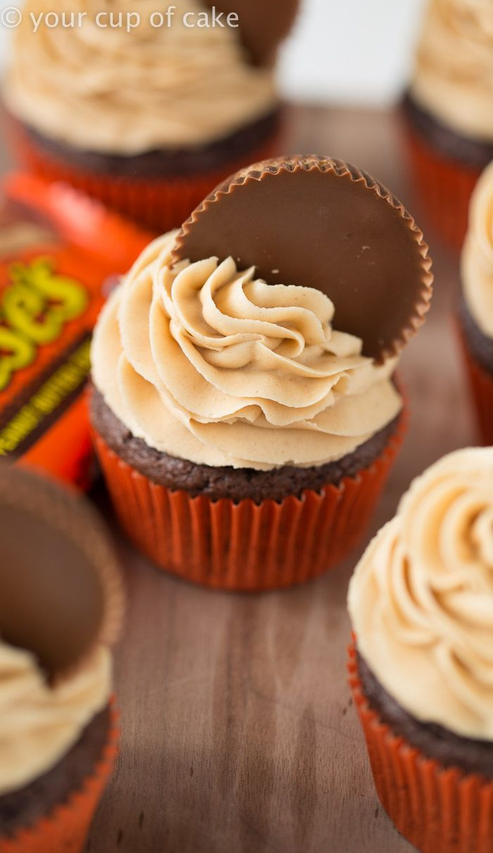 cupcake recipes for bridal shower%0A Reese u    s Peanut Butter Cupcakes with peanut butter frosting