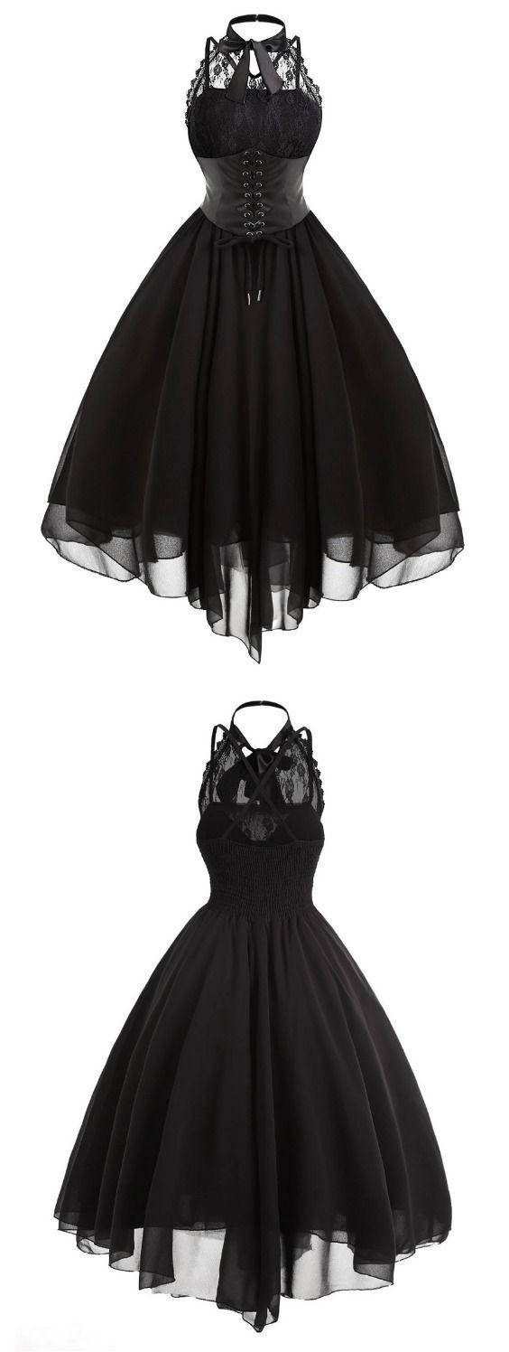 Gothic Cross Back Lace Panel Corset Dress