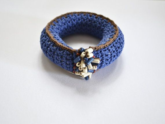 Bangle bracelet crochet bracelet bohemian jewelry by Loulalalou