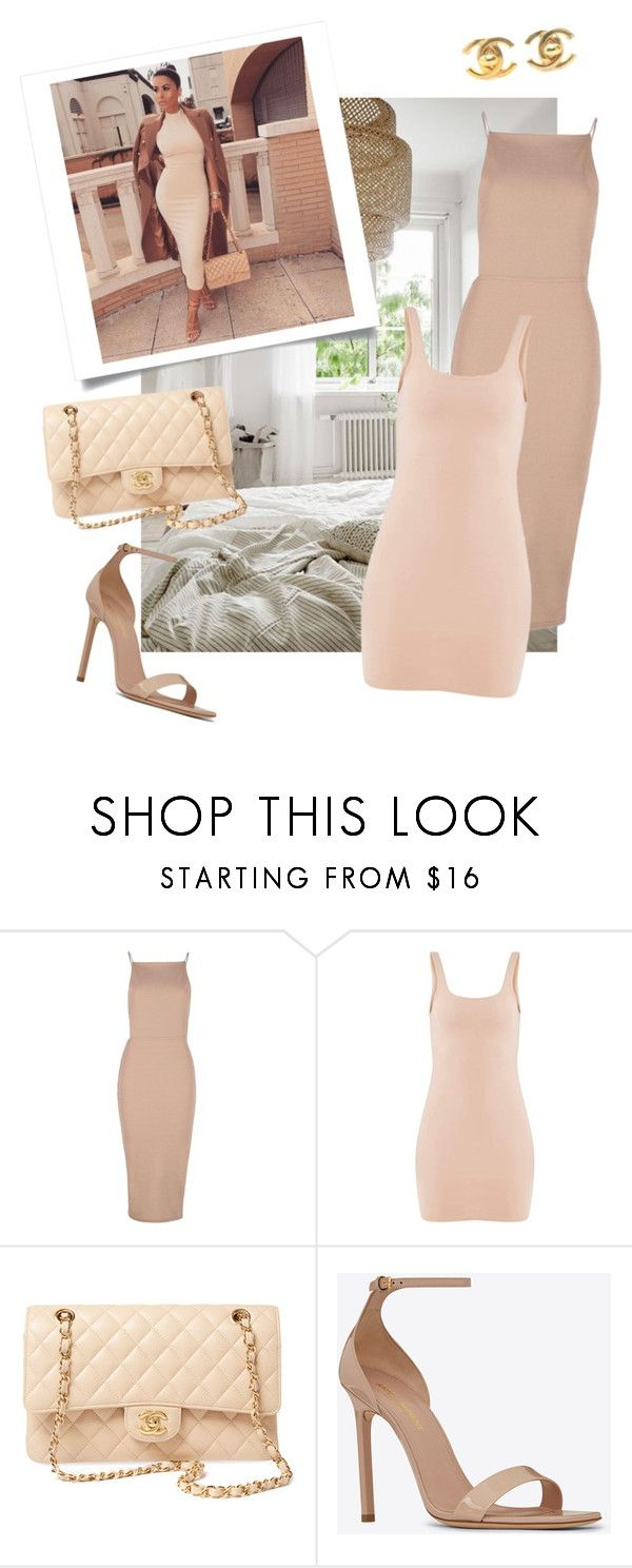 """""""Neutral Tones: Bodycon Dress"""" by conceptamsterdam ❤ liked on Polyvore featuring Boohoo, Chanel and Yves Saint Laurent"""