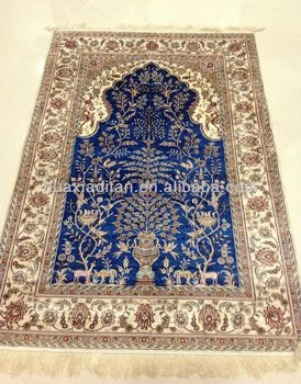 Blue Handmade Silk Persian Carpet Iranian Carpets Factory Low Prices Hand Knotted Rug