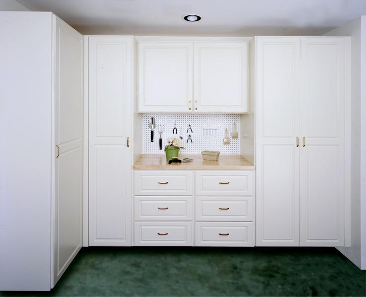 Lovely White Melamine Garage Cabinets