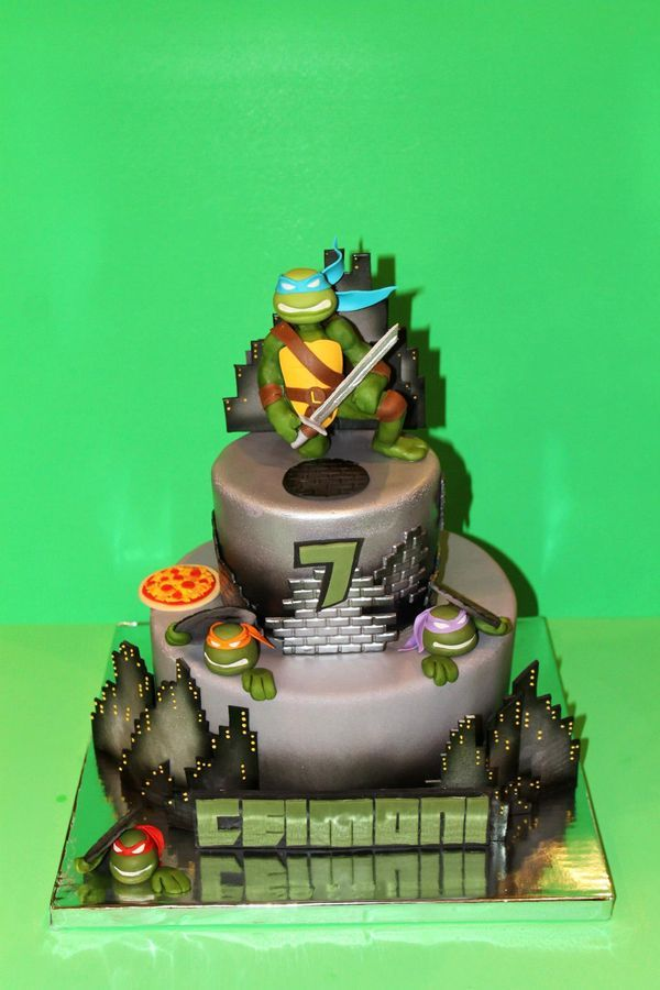 *TMNT Cake. Cake is completely edible and hand sculpted. Perfect for this 7 year old boy!