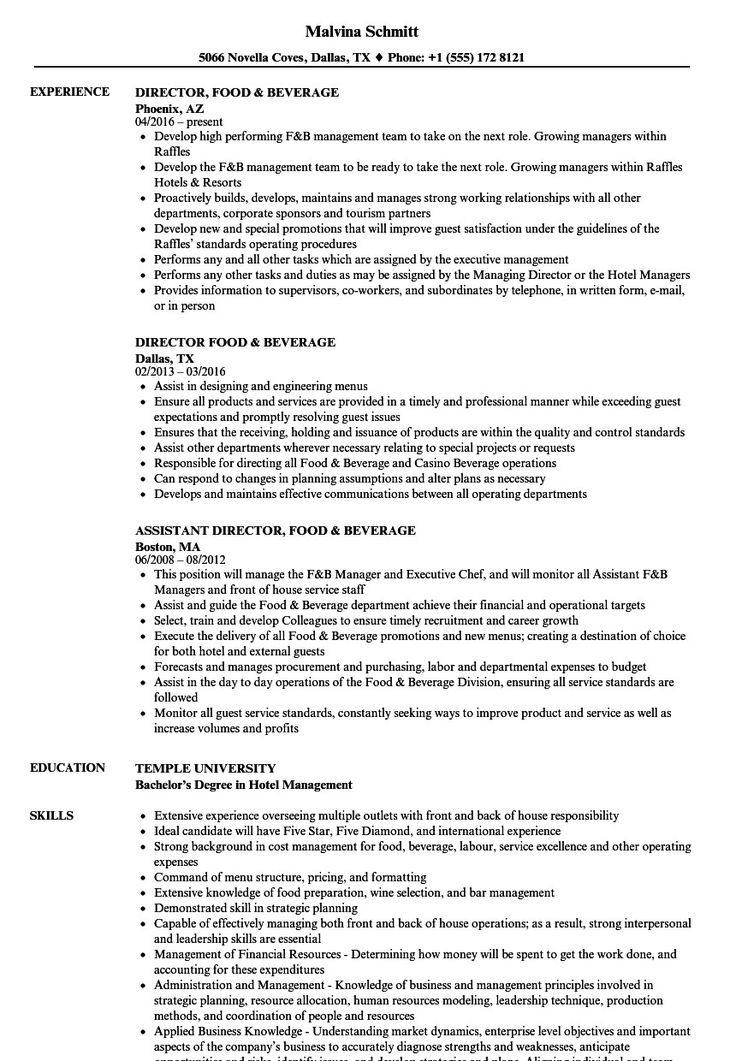 Food and Beverage Manager Resume Incredible Director Food