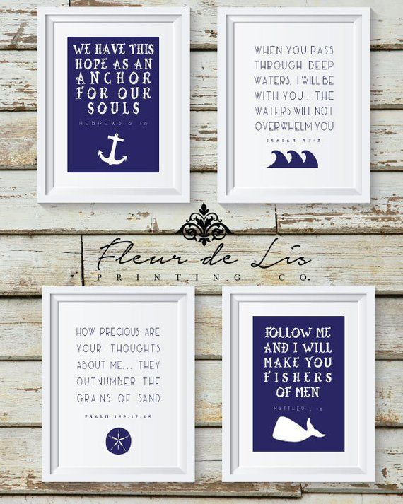 Nautical Theme Bible Verse, ocean water religious home decor