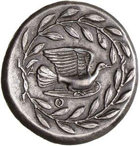 Statere - argento - Sicione, Acaia, Grecia (350-340 a.C.) colomba in volo vs.dx. circondata da corona d'alloro - Sicione è una delle più antiche città del Peloponneso, raggiunse grande splendore nell'VIII sec.a.C. le sue monete cilcolavano in tutto il mondo antico