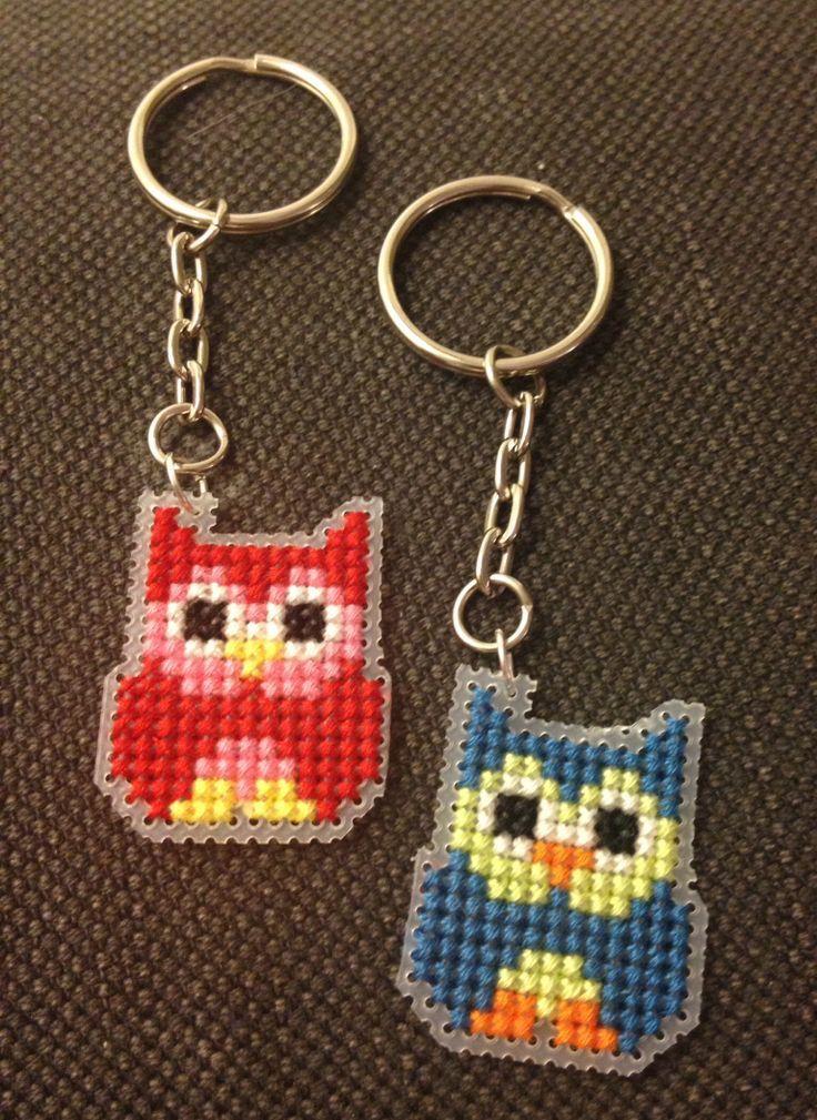 owl Plastic Canvas Patterns | Owl cross stitch keyrings on plastic canvas
