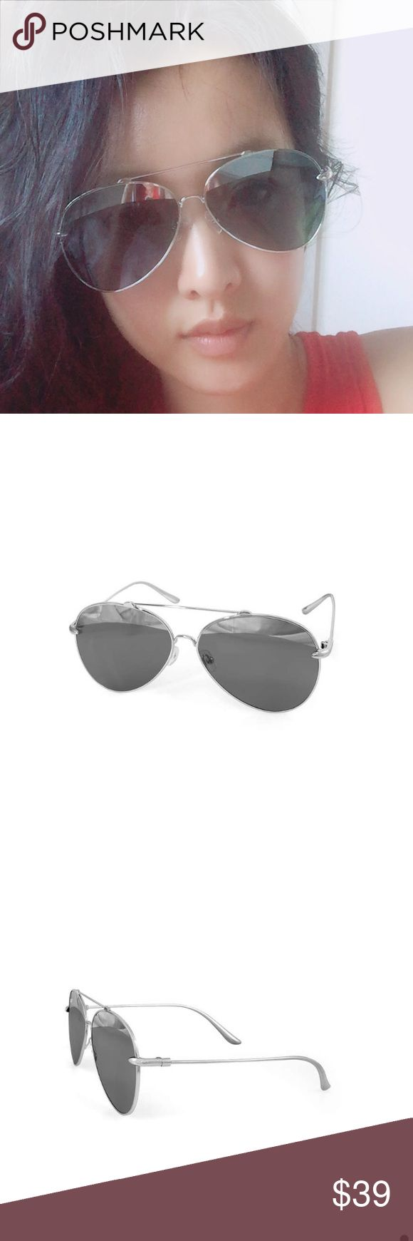 AQS unisex aviator sunglasses Never worn new. In perfect condition. Sunglasses case, cleaning cloth are included. Eye-bridge-temple=60-13-140mm. Standard hinge. Silver frame. 100% uv protection. Made in Italy. No trades AQS Accessories Sunglasses