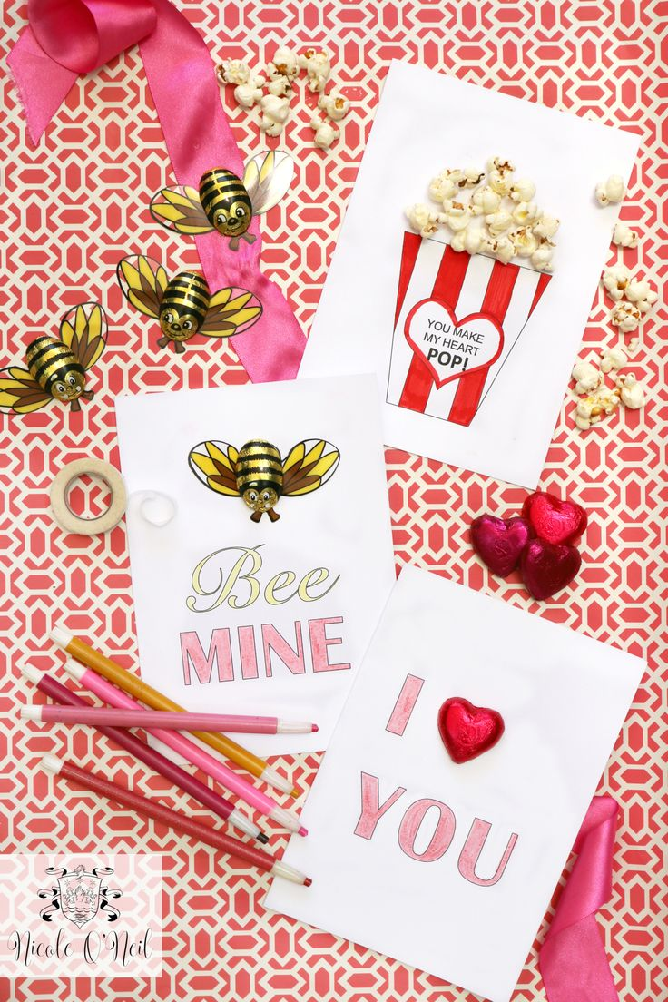 Free Printable Valentine's Day Cards from Real Housewives of Sydney's Nicole O'Neil. Perfect for kids and an easy DIY craft, these free card templates make it easy to share the love this Valentine's Day. Use foil wrapped chocolate hearts, bees, popcorn, lipstick and more to turn an ordinary card into something fabulous.