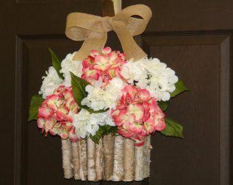 summer wreath, hydrangea wreath, birch bark vases floral container front door wreath, decorations, spring wreath