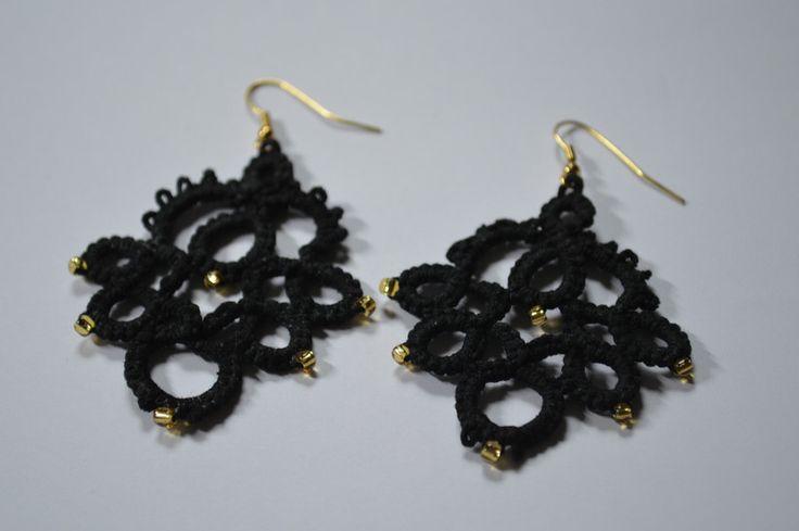 Orecchini pendenti - Orecchini neri chiacchierino - un prodotto unico di marijoux95 su DaWanda