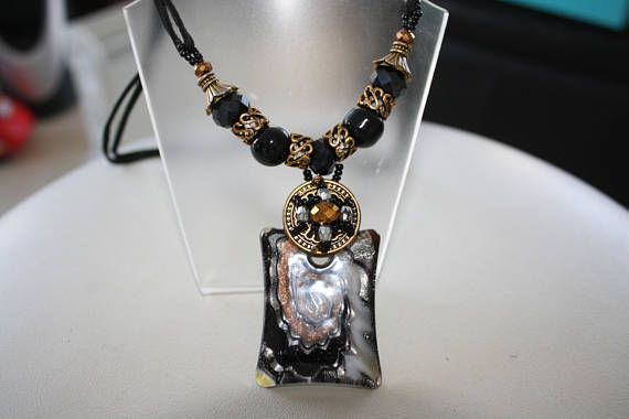 Stunning ladies fashion jewellery, Murano, black, square, shaped necklace and glass jewellery beads. VezArtDesigns fashion piece that can be worn for any occasion. Great gift ideas, colourful and thoughtful ladies, girls, stylish fashion piece. Murano Glass, Beads, lampwork, Venetian beauty. Make this yours, just love the colours.