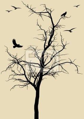 Vinilo para Paredes árbol con los pájaros, vector - shape • PIXERS.es