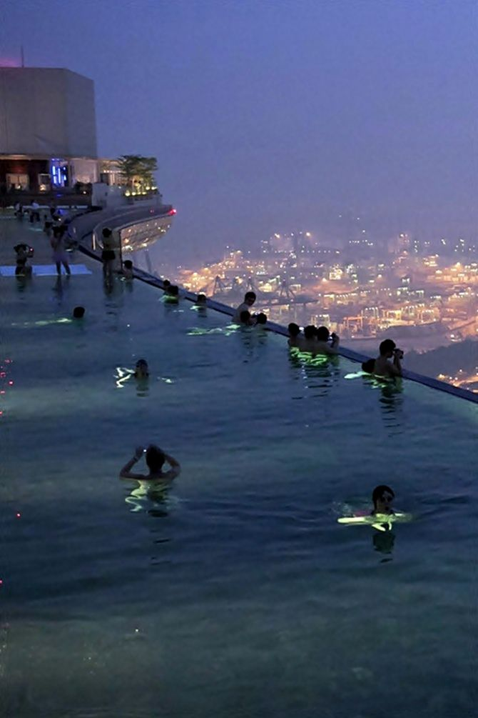 One of the most beautiful pools of the world - Marina Bay Sands Skypark, Singapore.