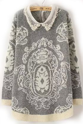 Shop Grey Lapel Vintage Print Knit Sweater online. Sheinside offers Grey Lapel Vintage Print Knit Sweater & more to fit your fashionable needs. Free Shipping Worldwide!