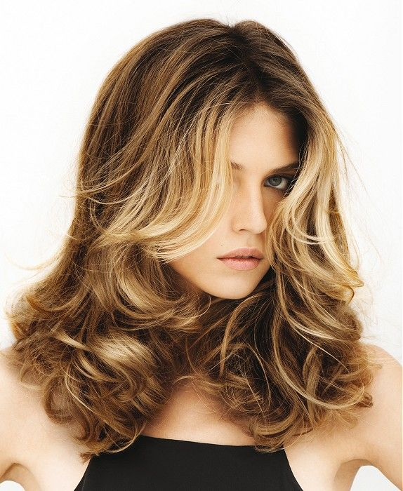 Long Brown curly coloured multi-tonal womens hairstyles for women