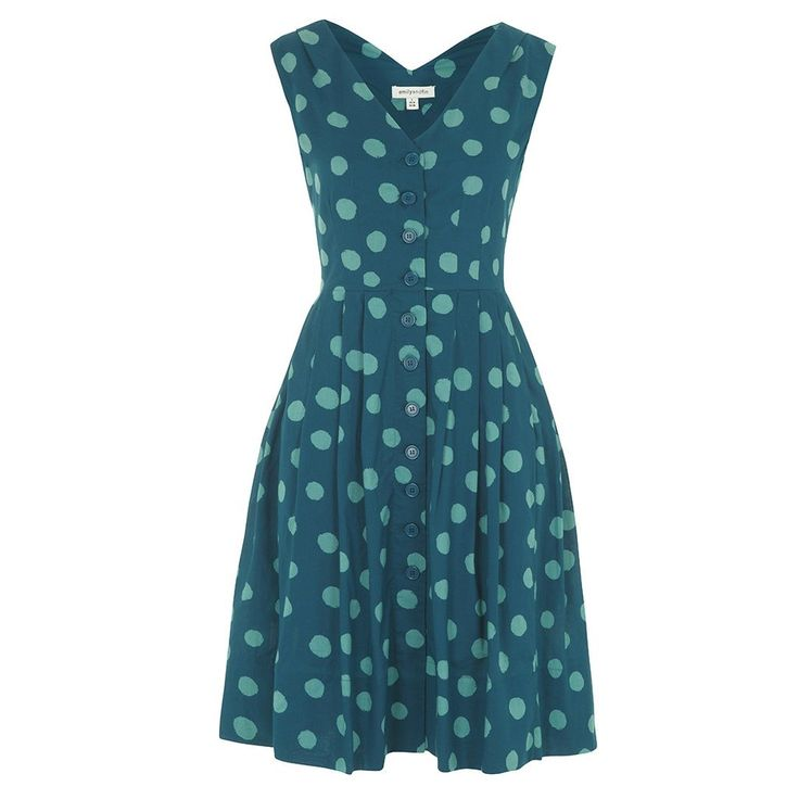 Emily & Fin Scarlett Splattered Spot Dress, $145  button up dress - fit n flare dress - teal - spotty - retro - indie - vintage - ethical fashion