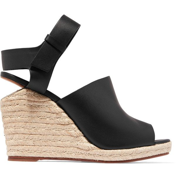 Alexander Wang Tori leather wedge sandals (350 BGN) ❤ liked on Polyvore featuring shoes, sandals, black, strap wedge sandals, black wedge sandals, platform sandals, black sandals and wedge sandals