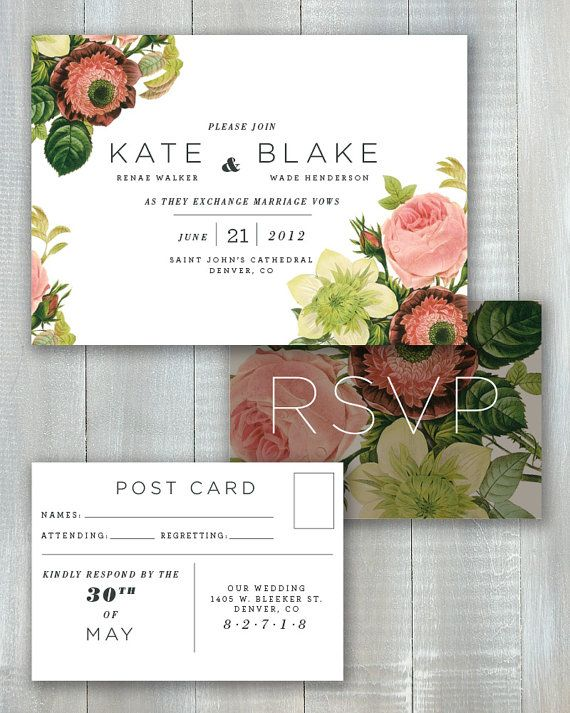 Modern Floral PDF Invitation Set by JoyEverAfter on Etsy